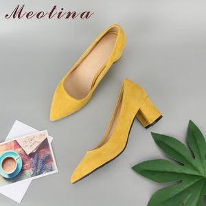 Meotina Thick High Heels Shoes Women Pumps Pointed Toe Work Shoes Slip On High Heels Spring Footwear Big Size 9 42 43 Red Yellow