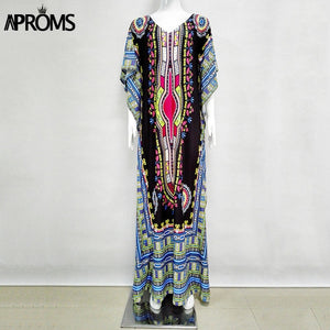 Aproms African Kaftan Dresses for Women Summer Ethnic Dashiki Dress Robe Traditional African Clothing Long Maxi Tunic Dress