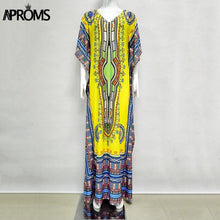 Load image into Gallery viewer, Aproms African Kaftan Dresses for Women Summer Ethnic Dashiki Dress Robe Traditional African Clothing Long Maxi Tunic Dress