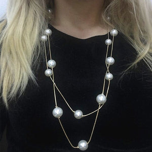 NK826 New Bijoux Cute Love Long Double Layers Chain Simulated Pearl Charm Pendant Necklace for Women Jewelry Statement Gift