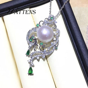 925 sterling silver phoenix necklace for women Natural freshwater pearl necklaces pendants Zircon chain bridal Bohemian jewelry