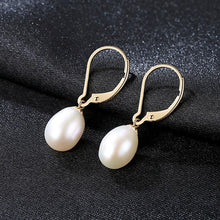 Load image into Gallery viewer, LUOTEEMI Brand 2018 High Quality 8-9mm Oval Freshwater Pearl Dangle Earring For Women Gold Bridesmaid Earrings Fine Jewelry