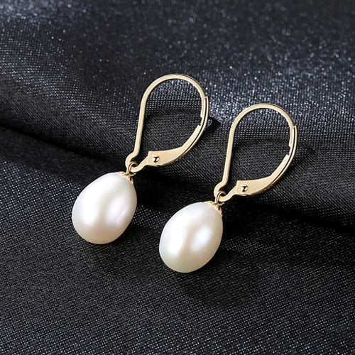 LUOTEEMI Brand 2018 High Quality 8-9mm Oval Freshwater Pearl Dangle Earring For Women Gold Bridesmaid Earrings Fine Jewelry