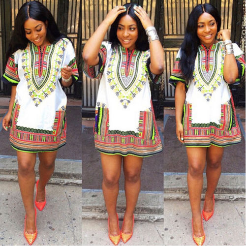 Women Boho Dashiki Dresses Shirt African Gsypy Clubwear Short Mini Dress Women Clothing