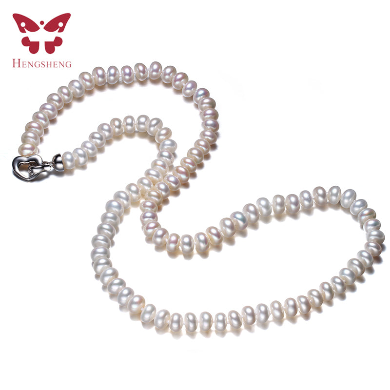 Amazing Price White Natural Women Freshwater Pearl Necklace,925 Sterling Silver Necklace,Fashion Beads Jewelry,45cm Length