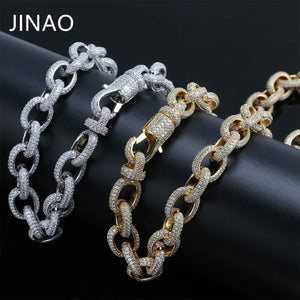 JINAO Hip Hop Micro Pave Zircon Chain 15mm Gold Silver Twisted and Oval Link Chain Necklaces For Women Male Gifts Lobster Clasp