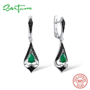 SANTUZZA Silver Drop Earrings For Women 925 Sterling Silver Dangle Green Earrings Long Silver 925 Party Fashion Jewelry