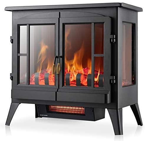 Electric Fireplace Heater Stove with Freestanding Realistic Flame -Furniture