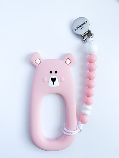 teething clip | BEAR • pink