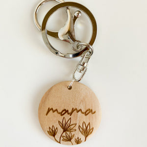engraved wood round keyring • MAMA (wildflowers) • silver and gold