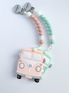 teething clip | HAPPY CAMPER • peach