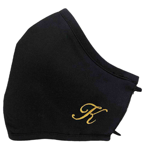 Products 100% Cotton Triple Layer Adjustable Mask with Built-In Nose Wire & Filter Pocket - Golden Initial Masks
