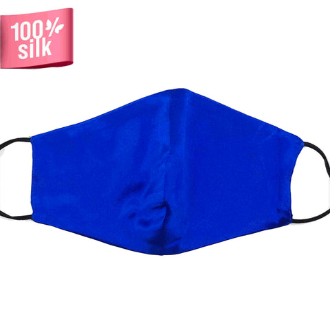 Double Layer 100% Silk Satin Mask - Royal Blue