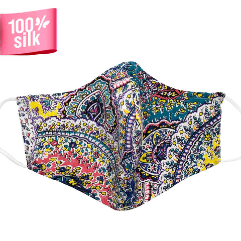 Triple Layer 100% Silk Satin Mask with Filter Pocket - Resort