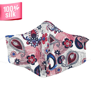 Triple Layer 100% Silk Satin Mask with Filter Pocket - Jardin
