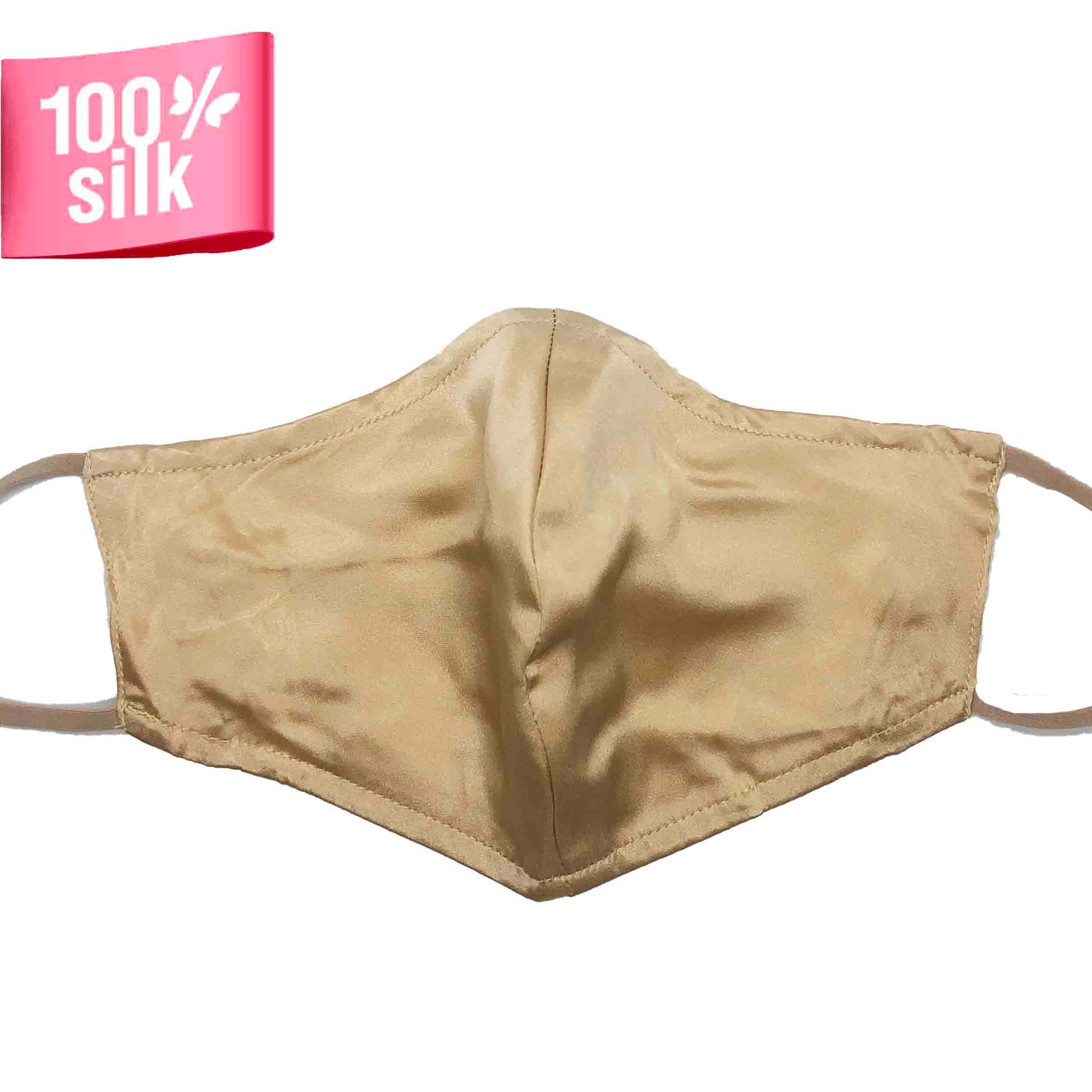 Triple Layer 100% Silk Satin Mask with Filter Pocket - Champagne
