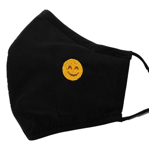 100% Cotton Triple Layer Adjustable Mask with Built-In Nose Wire & Filter Pocket -  Smiley Face Emoji Embroidered Mask
