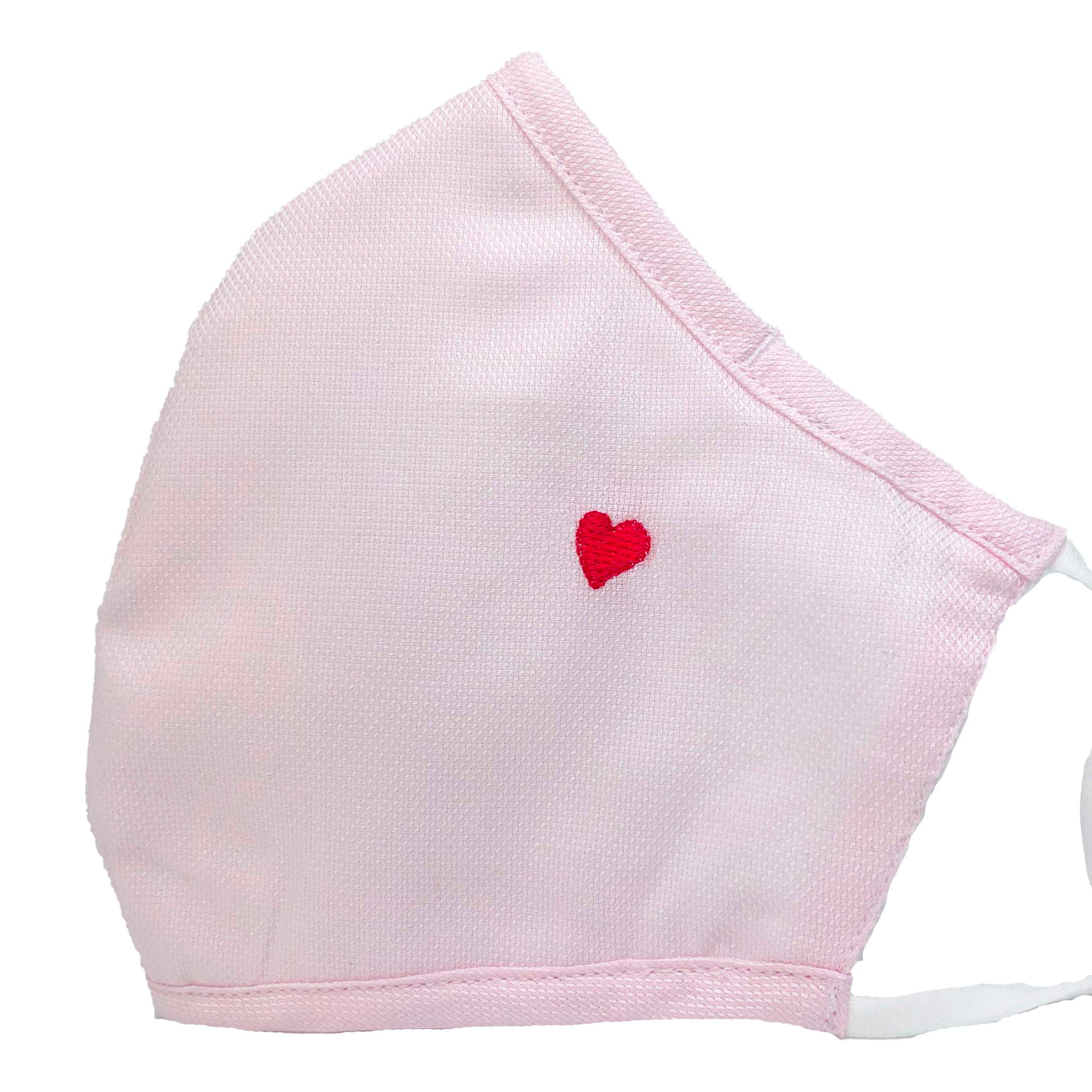 100% Cotton Triple Layer Adjustable Mask with Built-In Nose Wire & Filter Pocket -  Little Heart (Baby Pink)