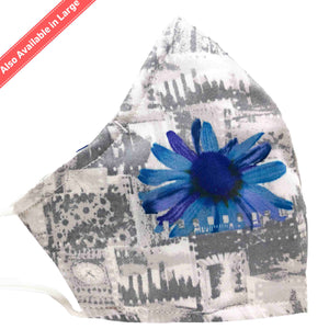 100% Cotton Triple Layer Adjustable Mask with Built-In Nose Wire & Filter Pocket - Blue Sunflower