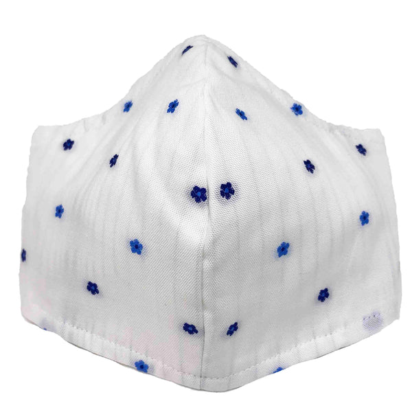 100% Cotton Triple Layer Adjustable Mask with Built-In Nose Wire & Filter Pocket - Blue Poppies