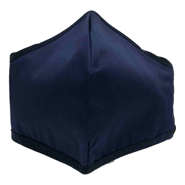 Men's 100% Cotton Triple Layer Adjustable Mask with Built-In Nose Wire & Filter Pocket - Dark Navy