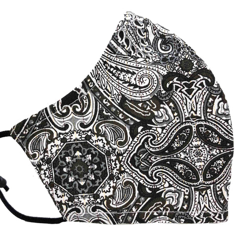 100% Cotton Triple Layer Adjustable Mask with Built-In Nose Wire & Filter Pocket - Poised