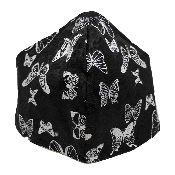 100% Cotton Triple Layer Adjustable Mask with Built-In Nose Wire & Filter Pocket- Butterfly - Women's Large