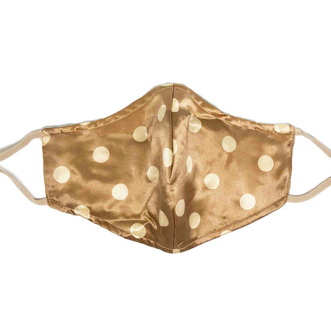 Triple Layer 100% Silk Satin Mask with Filter Pocket - Polka dots