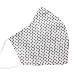 100% Cotton Triple Layer Adjustable Mask with Built-In Nose Wire & Filter Pocket -  Muted Polka
