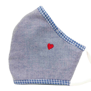 100% Cotton Triple Layer Adjustable Mask with Built-In Nose Wire & Filter Pocket -  Little Heart (Denim)