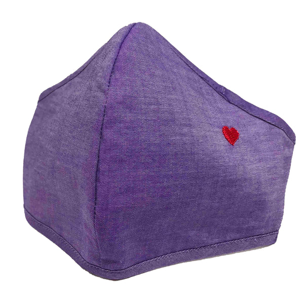 100% Cotton Triple Layer Adjustable Mask with Built-In Nose Wire & Filter Pocket -  Little Heart (Purple)
