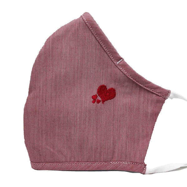 100% Cotton Triple Layer Adjustable Mask with Built-In Nose Wire & Filter Pocket -  Fluttering Heart