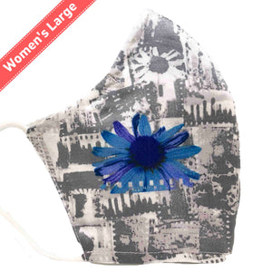100% Cotton Triple Layer Adjustable Mask with Built-In Nose Wire & Filter Pocket - Blue Sunflower - Women's Large