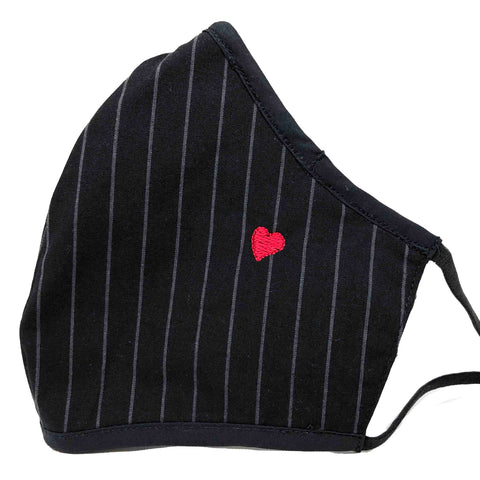 100% Cotton Triple Layer Adjustable Mask with Built-In Nose Wire & Filter Pocket - Little Heart (Striped)
