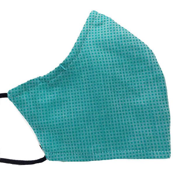 100% Cotton Triple Layer Adjustable Mask with Built-In Nose Wire & Filter Pocket - Teal