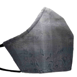 100% Cotton Triple Layer Adjustable Mask with Built-In Nose Wire & Filter Pocket - Grey Ombre