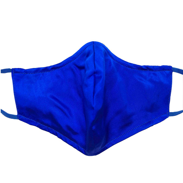 Triple Layer 100% Silk Satin Mask with Built-In Nose Wire and Filter Pocket - Royal Blue