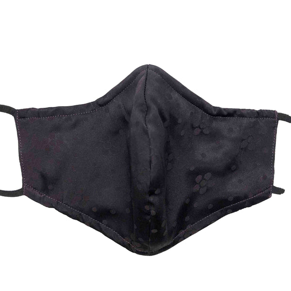 Triple Layer 100% Silk Satin Mask with Built-In Nose Wire and Filter Pocket - Dark Purple Blooms