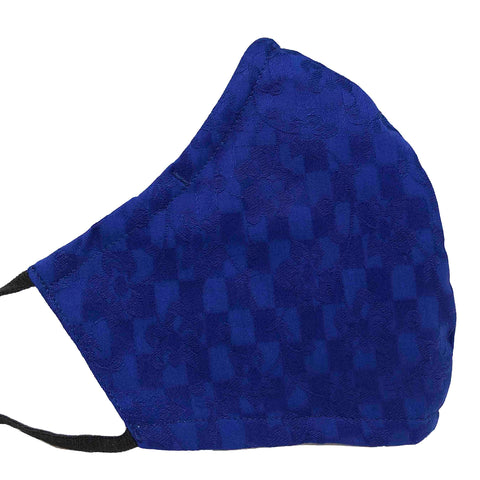 100% Cotton Triple Layer Adjustable Mask with Built-In Nose Wire & Filter Pocket - Climbing Vines (Royal Blue)