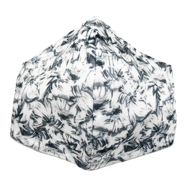 100% Cotton Triple Layer Adjustable Mask with Built-In Nose Wire & Filter Pocket - Brushed Petals