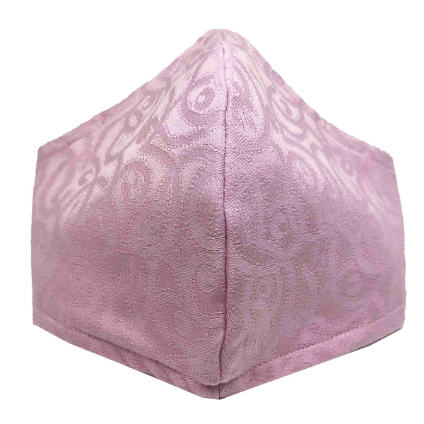 100% Cotton Triple Layer Adjustable Mask with Built-In Nose Wire & Filter Pocket - Baby Pink Swirls