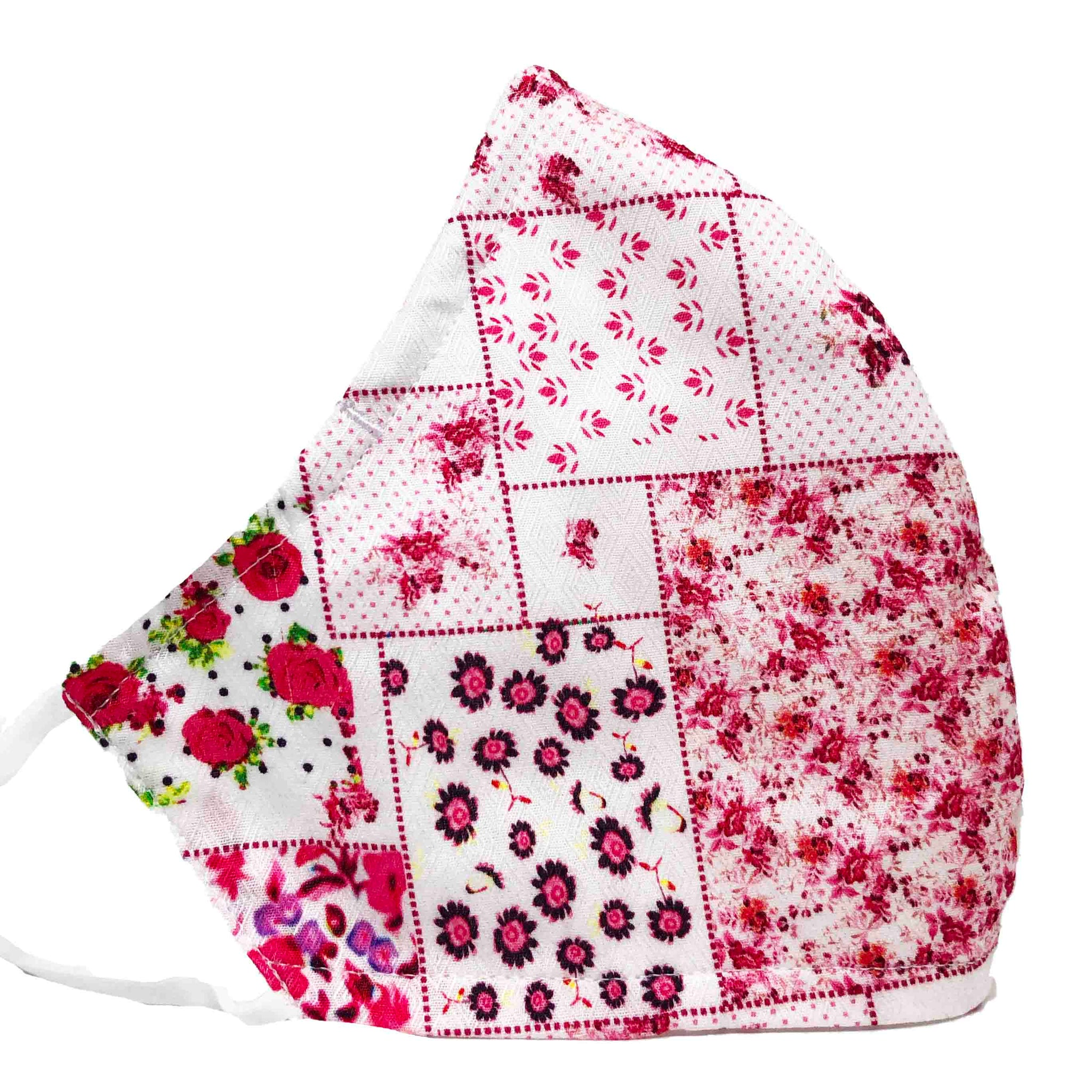 100% Cotton Triple Layer Adjustable Mask with Built-In Nose Wire & Filter Pocket - La Vie En Rose