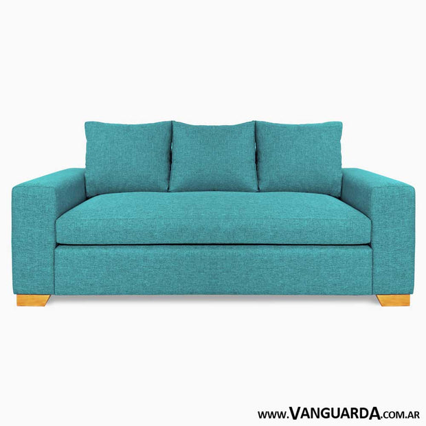 Sofa Moderno 3 cuerpos Ducreux oxford turquesa frontal