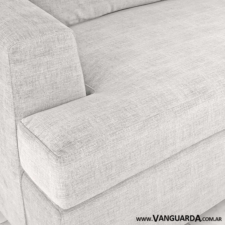 sofa comodo para living Gerome doble modulo pana tequila natural tela