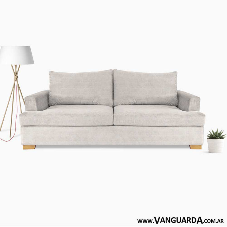 sofa para living pequeno Gerome 200 pana tequila natural ambientado