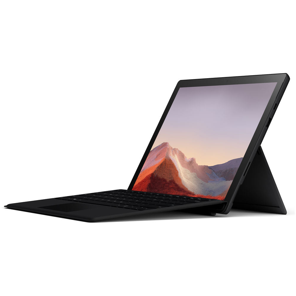 "Microsoft 12.3"" Multi-Touch Surface Pro 7 Matte Black Bundle with Black Surface Pro Type Cover"