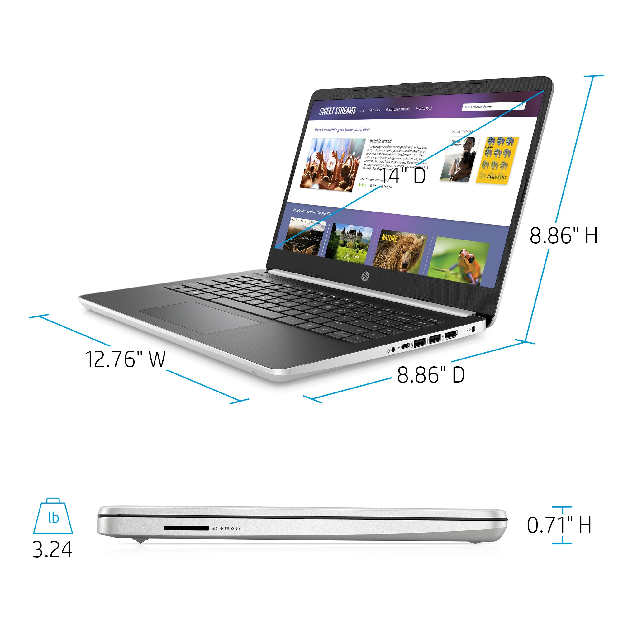 "HP 14"" Laptop,  Natural Silver"