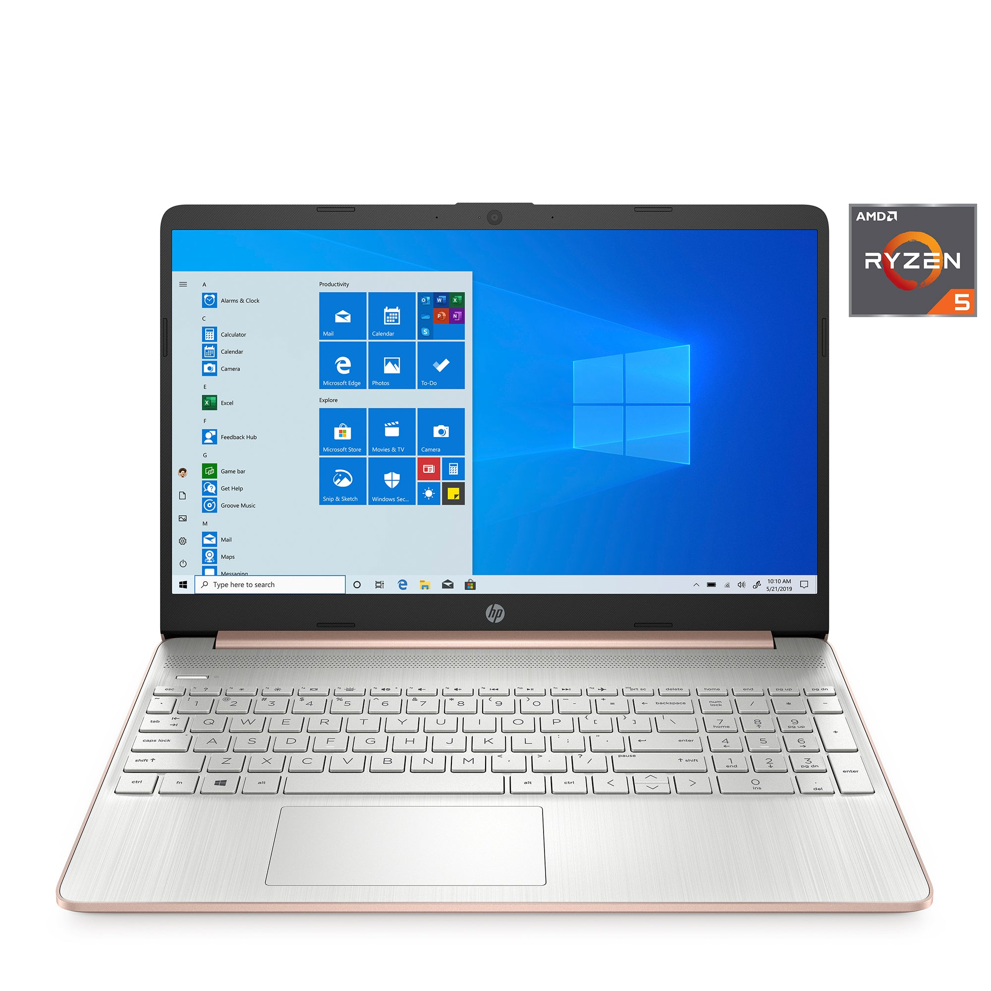 "HP 15.6"" Ryzen 5 8GB/256GB Laptop-Rose Gold"