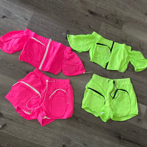 Lime Haute Girl Shorts Set
