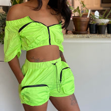 Load image into Gallery viewer, Lime Haute Girl Shorts Set